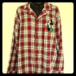 Disney Mickey plaid embroidered pajama/night shirt